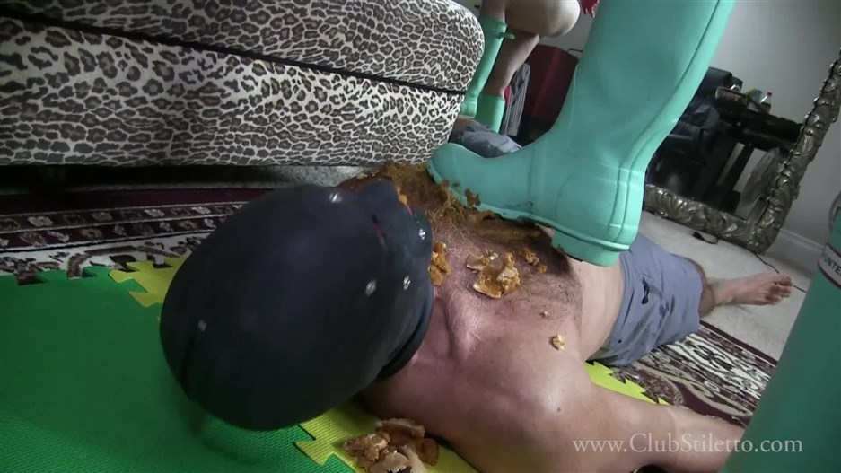 Clubstiletto – Rubber Boot Trample and Feeding – Goddess Amelia